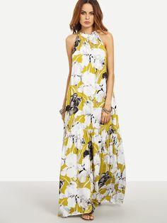 4e1cbd0e06475 Robe longue motif fleuri sans manche - multicolore -French SheIn(Sheinside)