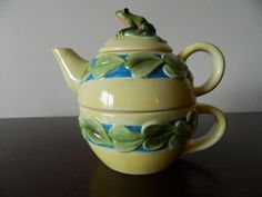 Ranger Gift Frog Lily Pad Tea for One Teapot Cup Ceramic Retired Yellow Green | eBay
