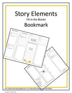 This is a FREE foldable bookmark with eight sections that students can use to record story elements as they read. By folding the paper in half, and then in half again, student create a bookmark that is always handy when they are ready to write. The story elements include characters, character traits, setting, problem and solution, and more. Students write, draw, and color to complete their bookmark. Library Lessons, Reading Lessons, Reading Resources, Reading Skills, Teaching Reading, Guided Reading, Math Lessons, Teaching Ideas, Learning