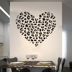 Cheetah Spot Print Heart Removable Wall Art Decal