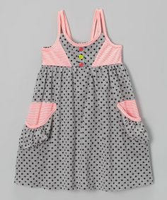 This Gray & Pink Polka Dot Babydoll Dress is perfect! #zulilyfinds
