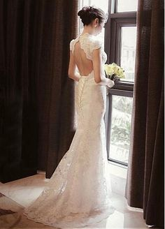 Elegant Lace High Collar Neckline Natural Waistline Sheath Wedding Dress