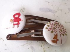 Little Red Riding Hood Bella Hair Clips by bellajean on Etsy