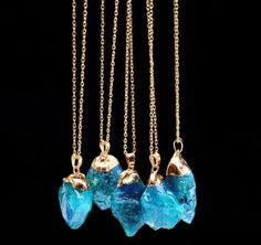 Natural Crystal Charm Necklace, Multiple Colors