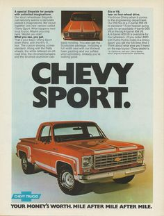 Chevy trucks aficionados are not just after the newer trucks built by Chevrolet. They are also into oldies but goodies trucks that have been magnificently preserved for long years. Chevrolet Silverado, Chevy Stepside, Classic Chevrolet, Classic Chevy Trucks, Chevy Pickups, Chevrolet Trucks, Classic Cars, Classic Auto, Chevrolet Blazer