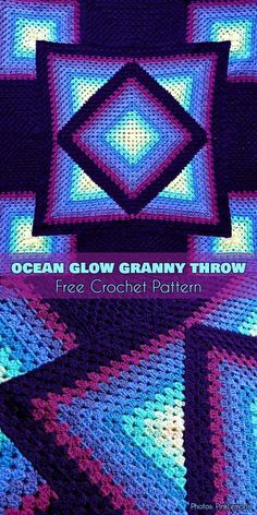 Ocean Glow Granny Throw Free Crochet Pattern #freecrochetpatterns #crochetblanket