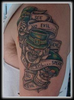 The Irish Hear No Evil, See No Evil, Speak No Evil with leprechauns - #talesofthetatt #tattoo #Irish #StPatricksDay- www.talesofthetatt.com
