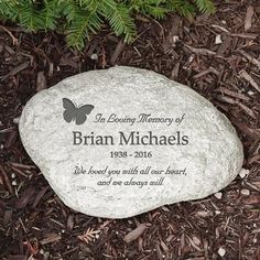 Personalized Butterfly Garden Stone Garden Stone is made of durable resin and has a real stone look. Lightweight, waterproof, measuring W x H x 1 ? This Garden Accent Stones is designed for indoor or outdoor use. Personalized Memorial Gifts, Engraved Gifts, Garden Signs, Garden Flags, Garden Gate, Family Garden, Home And Garden, Personalized Garden Stones, Memorial Garden Stones