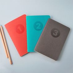 Pocket Notebooks Numbered - Set 3 - Handmade and Letterpressed printed. €15.75, via Etsy.