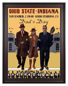 1940 Ohio State Buckeyes vs Indiana Hoosiers 30 x 40 Framed Canvas Historic Football Print