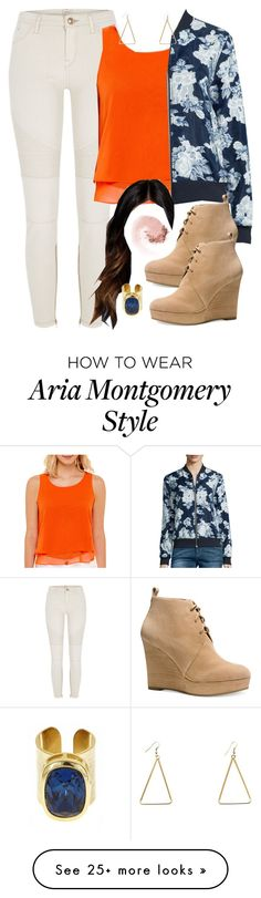 """""""Aria Montgomery inspired outfit with a bomber jacket"""" by liarsstyle on Polyvore featuring River Island, Bisou Bisou, i Jeans by Buffalo, Michael Kors, Fornash, NARS Cosmetics and WF"""