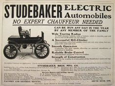 1903 Studebaker Electric Automobile Ad ~ No Chauffeur Needed