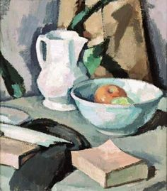 Samuel John Peploe, STILL LIFE WITH A JUG AND A BOWL OF APPLES (STILL LIFE APPLES AND A WHITE ROSE IN AN ORIENTAL VASE)