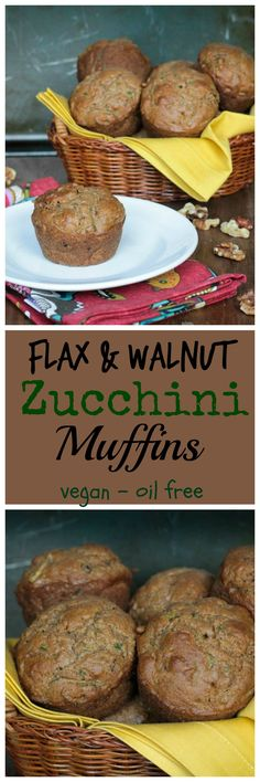 Flax & Walnut Zucchini Muffins - wholesome muffins, lightly sweetened, and perfect for a breakfast or a snack any time of day! Vegan Zucchini Muffins, Healthy Zucchini, Whole Food Recipes, Cooking Recipes, Vegetarian Recipes, Healthy Recipes, Vegetarian Sandwiches, Going Vegetarian, Vegetarian Dinners