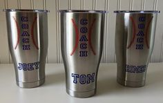 Perfect gift idea for the coach in your life! We love this personalized vinyl for our coaches out there. Custom made to fit Yeti Cup. Please leave name in the notes in checkout. Yeti Cup not included. Please allow longer ship time. Baseball Crafts, Baseball Mom, Baseball Party, Baseball Buckets, Baseball Stuff, Baseball Coaches, Baseball Manager, Softball Party, Football Banquet