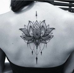 Black and Gray Dotwork Lotus Tattoo.