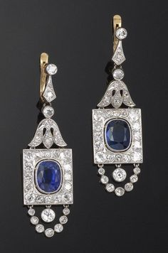 A pair of Belle Epoque sapphire and diamond drop earrings, cased. Diamond Drop Earrings, Diamond Brooch, Sapphire Earrings, Art Deco Diamond, Sapphire Jewelry, Diamond Jewelry, Edwardian Jewelry, Antique Jewelry, Vintage Jewelry