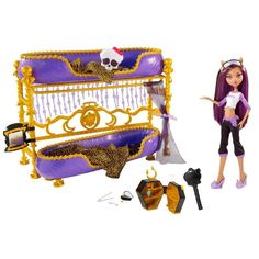 After a long week at school, Clawdeen Wolf is in need of a little rest and relaxation. This Monster High Clawdeen Wolf Doll is a totally collectible fashion doll that comes with an eye mask, bed and pajamas outfit. Girls will love playing with this collectible fashion toy for hours, reenacting all their favorite scenes from the hit Monster High series.    Monster High Room to Howl Clawdeen Wolf Doll