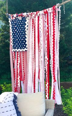 "How to Make a Whimsical ""Rag Flag"" — Jenny Reimold Fourth Of July Decor, 4th Of July Celebration, 4th Of July Decorations, 4th Of July Party, July 4th, Birthday Decorations, Patriotic Crafts, July Crafts, Summer Crafts"