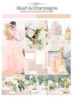 Blush and champagne wedding inspiration board, color palette, mood board via Weddings Illustrated