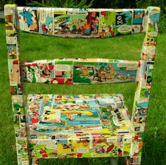 Covered in comics, newspaper or book pages