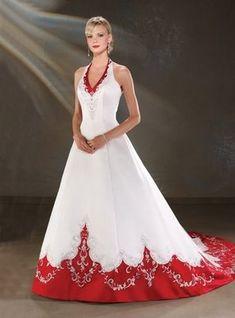 vestido de noiva colorido com bordas vermelhas