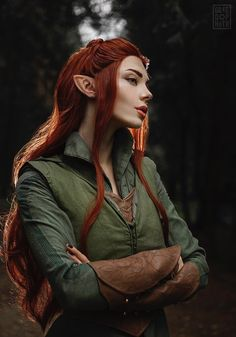 "steam-and-pleasure: ""Tauriel from The Hobbit Cosplayer: Mellu's cosplay - Xenia Shelkovskaya Photographer: GREED "" Fantasy Characters, Female Characters, Character Inspiration, Character Art, Hobbit Cosplay, Elven Princess, Elves And Fairies, Fantasy Photography, Fantasy Hair"
