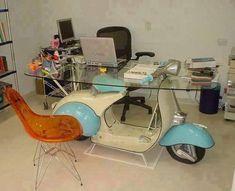All things Lambretta & Vespa — Vespa table, neat. Car Part Furniture, Automotive Furniture, Automotive Decor, Lambretta Scooter, Vespa Scooters, Scooter Bike, Industrial Furniture, Vintage Industrial, Coffee Club