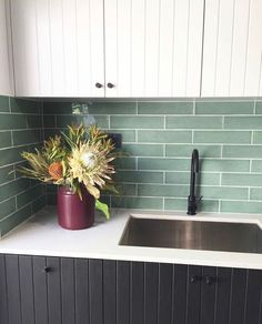 Laundry goals this morning from Kitchen Tiles, Kitchen Design, Kitchen Cabinets, Laundry Design, Laundry In Bathroom, House Goals, Jade Green, House Design, Green Tiles