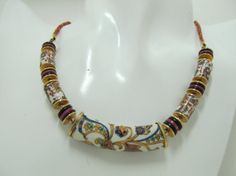 1970s Paisley Inspired Gold Tone and Glass Beaded by KittyCatShop, $12.99