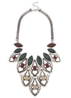 Shop Prima Donna - Havasu Stone Bib Necklace Burgundy. Love a statement necklace! #spdwishlist