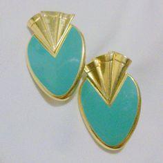 Vintage 1980's Green Enamel Gold Tone Earrings by BorrowedTimes