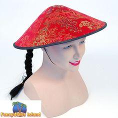 ORIENTAL CHINESE HAT   PLAIT - mens womens fancy dress costume accessory a18efe3d5987