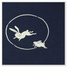 6.Cotton Fabric - Two Rabbits & Moon
