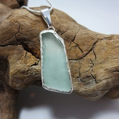 Aquamarine Bezel Set Sea Glass Necklace by SilverandSeaJewelry