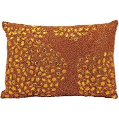 Mina Victory Luminescence Beaded Throw Pillow ($75) ❤ liked on Polyvore featuring home, home decor, throw pillows, orange, beaded throw pillows, tangerine throw pillows, orange home decor, patterned throw pillows and orange throw pillows