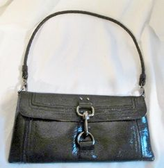 THE SAK Patent Leather Wristlet Shoulder Bag Baguette Purse Wallet Clutch BLACK