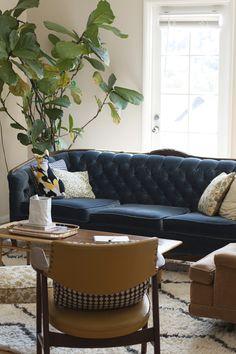 Love the blue sofa