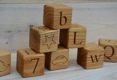 All in 1 26 Wooden English Alphabet Blocks ABC by KlikKlakBlocks