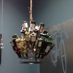 Wine bottle chandelier at TamalPie Pizzaria in Mill Valley - CCS Architects.