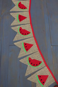 Watermelon Red Burlap Bunting Banner for by MsRogersNeighborhood