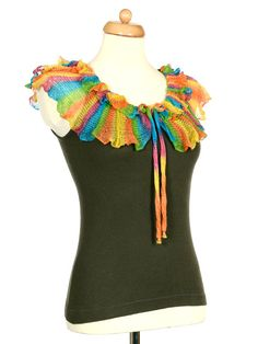 Upcycled Military Green Tank Top With Rainbow Crochet Ruffle Collar