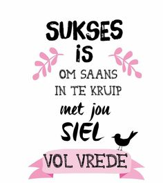 Sukses is om saans in te kruip met jou siel vol vrede Positive Quotes, Motivational Quotes, Inspirational Quotes, Funny Quotes, The Words, Words Quotes, Life Quotes, Sayings, Afrikaanse Quotes