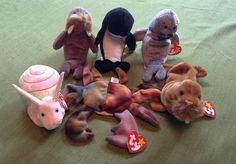 LOT of 6 TY Beanie Babies Baby OCEANLIFE SLIPPERY WAVES SWIRLY JOLLY CLAUDE PAUL #Ty