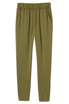 Smooth, tapered leg loveliness with an elasticized waist. Aw, pajama pant chic, we're so happy you're here!   colour: dry grass green In a size small the waist width is 70 cm. The model is 170 cm and is wearing a size small.