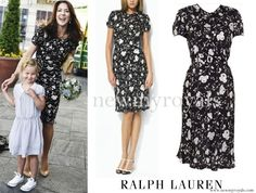 RALPH LAUREN Black and White Floral Dress