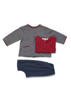 plaid check shirt / oatmeal jumper / Duck egg Blue Corduroy harem pants by Caramel Baby & Child