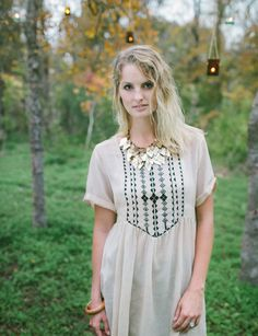 Madina: Hand Embroidered Short Dress II Fair Trade Cotton Apparel | Raven + Lily