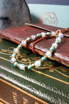 rainbow-moonstone-and-turquoise-bracelet #turquoise #moonstone #gold #beads