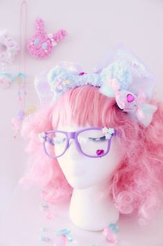 Shop Pastel Carnival ~✨💖✨ Fluffy Bear Ears Headband and Love Heart Candy Hair clips/Pins are available More items coming soon⭐️ Check it out Here! Harajuku Fashion, Kawaii Fashion, Lolita Fashion, Cute Fashion, Harajuku Style, Fashion Hair, Fasion, Lolita Hair, Goth Hair